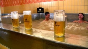 Manliest Pool – Starkenberger Beer Pool, Tarrenz, Austria.  Beer lovers will be forgiven for thinking they've died and gone to heaven when they encounter the Starkenberger Beer Pool, the world's only beer-filled swimming pool. Aside from the novelty factor, there is actually a point to bathing in beer- it is rich in vitamins and calcium, and therefore very good for the skin. Probably best to avoid drinking it though. No one likes a warm beer.