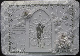 pamscrafts; Memory Box dies plus some Spellbinders, MS PATP, Cheery Lynn, Cuttlebug Geometric Rings folder, Kars Snowflake (could use Swiss Dot) and Inkadinkado Wedding Stamps; would make a beautiful mini album cover as well
