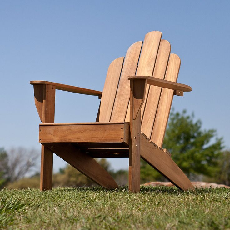 amazoncom teak adirondack chair outdoor patio teakwood chair by sei