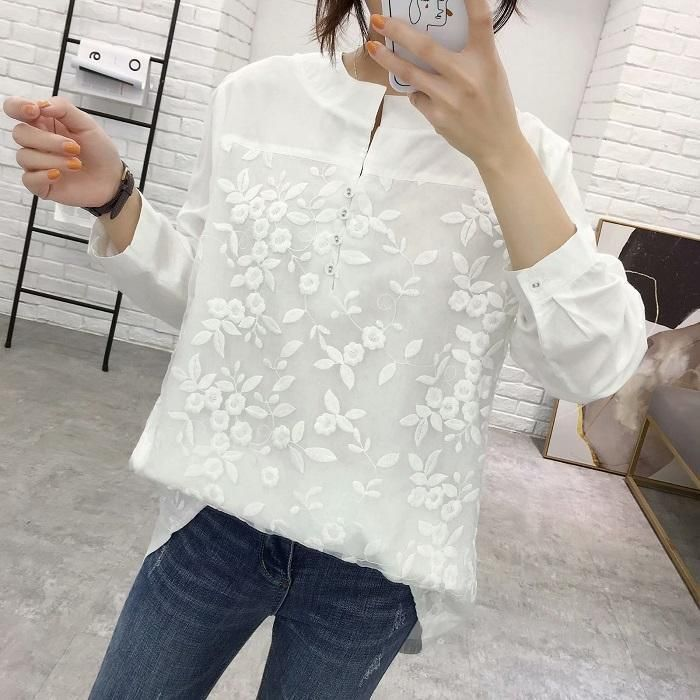 Lace Matching V-Neck Wide Shirt Slim Long-Sleeved Shirt 2