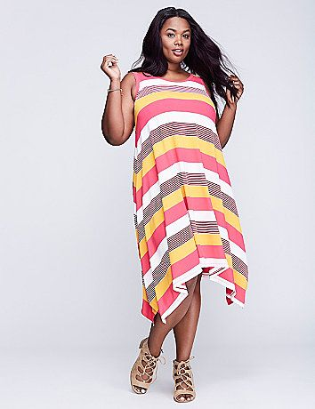 A throw-on-and-go dress is already at the top of our faves list. This one's vibrant stripes and sharkbite hem sends our love off the charts. Scoop neck.  lanebryant.com
