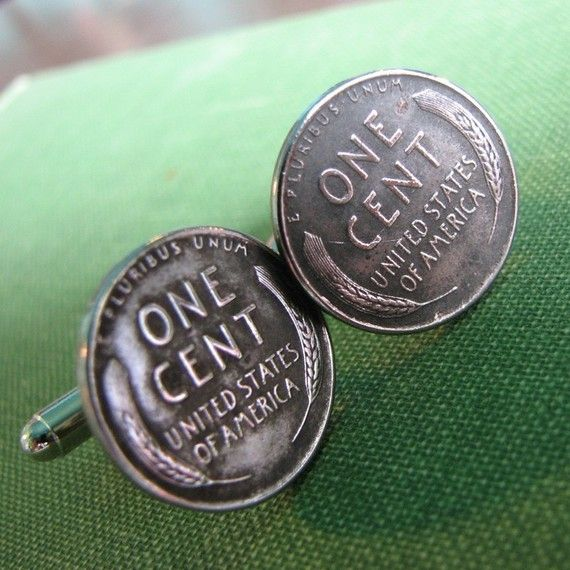 steel penny cufflinks - 1943 steelie cuff links mens