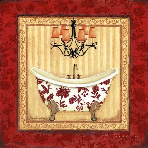 Red Demask Bath I Poster di Jo Moulton su AllPosters.it