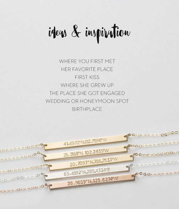 Personalized Coordinates Bracelet • A simple, meaningful Gift Idea shell love! Custom hand-stamped with Latitude and Longitude Location Coordinates. Available in Sterling Silver, Rose Gold and 14K Gold Filled.  W H Y ∙ S H E  L L ∙ L O V E ∙ I T : • an easy, versatile piece that she can wear every day • on trend, but also timeless • special and meaningful • highest quality materials and attention to detail  (BONUS)... the personalized, hand-made gift will get you most thoughtful ever status…