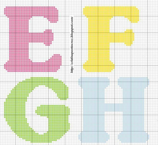 Alfabeto E - H letras