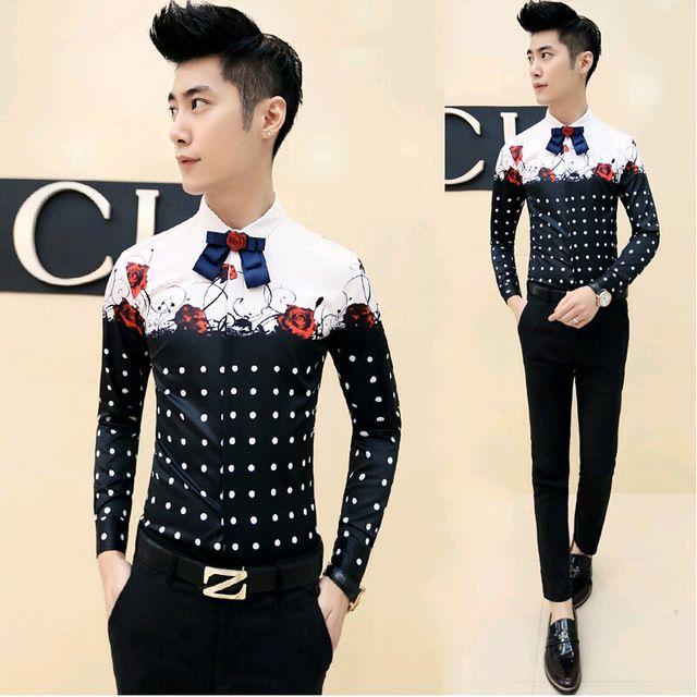 2017 Smoking Casual Floral Chemise Coréenne Hommes De Mode Chemises Long manches Camisas Hombre Rouge Slim Fit Hommes Polka Dot Robe chemise
