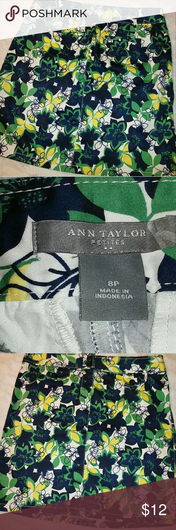 Anne Taylor 8 Petite skirt summer Multicolor Anne Taylor skirt 98% cotton, 2% spandex in navy and green Ann Taylor Skirts Mini