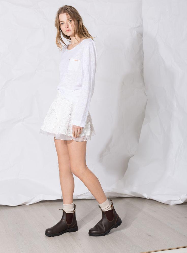 Aje Sorian Sequin Skirt in Matte White