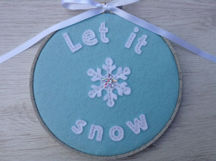 A personal favorite from my Etsy shop https://www.etsy.com/uk/listing/245318733/christmas-hoop-decoration-let-it-snow