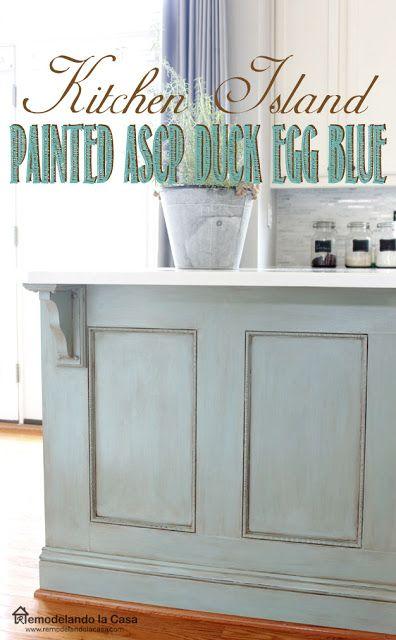 Kitchen Island Makeover - ASCP - Duck Egg Blue