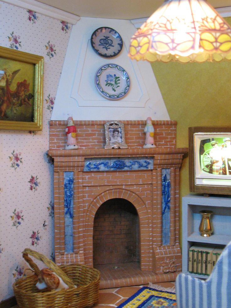 Casa popular Andaluza sala de estar. chimenea