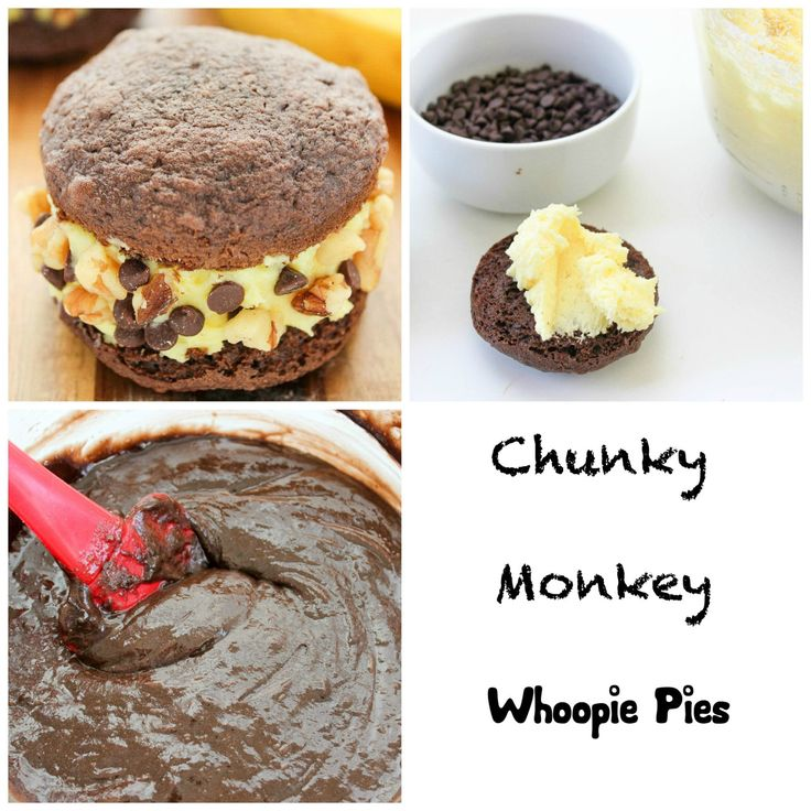 Chunky Monkey Ice Cream Whoopie Pies http://www.bakingbeauty.net/chunky-monkey-ice-cream-whoopie-pies/ #recipe #icecream #chocolate #dessert #foodpornReally nice recipes. Every hour.Show me what you cooked!