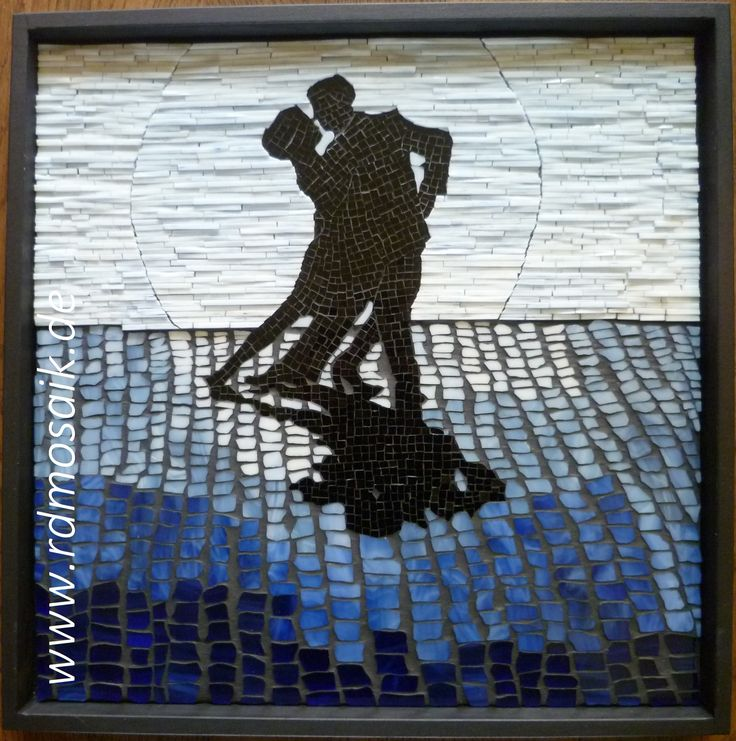 """Tango at Midnight"", 2014, 40x40 cm, stained glass mosaic by Rhonda Doenges See more of my artwork at www.rdmosaik.de"