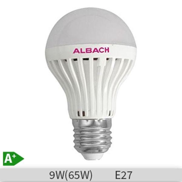 Bec LED Albach forma standard A60, 9W, E27, 20000 ore, lumina rece 6400k  http://www.etbm.ro/tag/148/becuri-led-e27