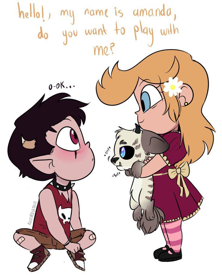 Amanda y Axel. Axel ( El chico) es el hijo de Tom y Janna y Amanda ( La chica ) es hija de Star y Marco Dialogo: Amanda: Hola, soy Amanda, quieres jugar conmigo  Axel: S-si...