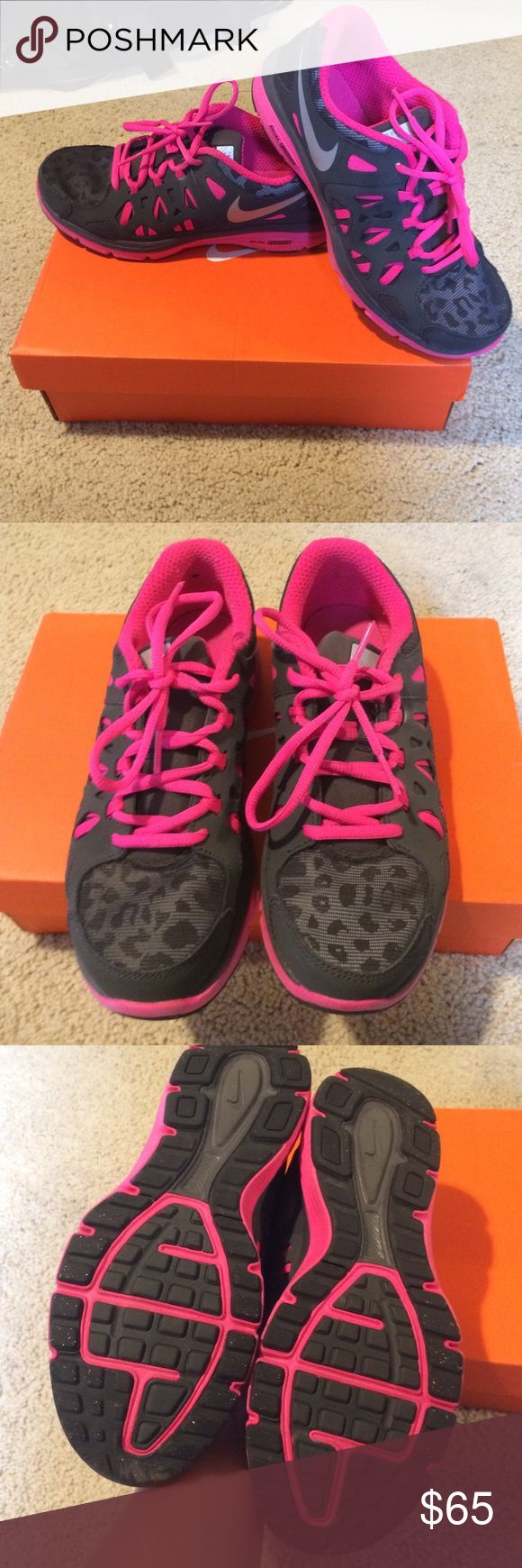 BNWOT reflective leopard Nikes - FINAL PRICE Brand-new barely worn hot pink, gray, and leopard reflection Nikes! Size 6Y which all your Nike lovers know it fits any woman size 7! Nike Shoes Sneakers