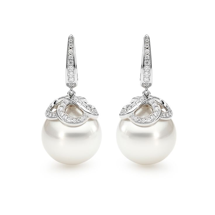 South Sea Pearl and diamond European hook earrings.  #diamonds #diamondsinternational #diamondjewellery #southsea #pearls