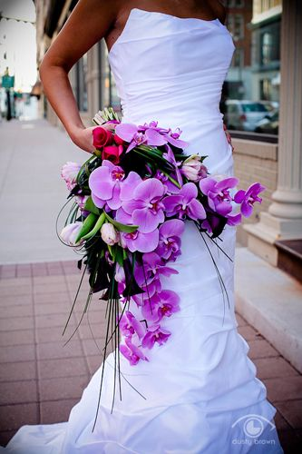 LOVE cascading bouquets. And it's purple :)
