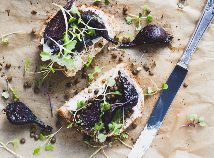 Za'atar Roasted Beet, Goat Cheese & Lentil Toast - Dishing Up the Dirt