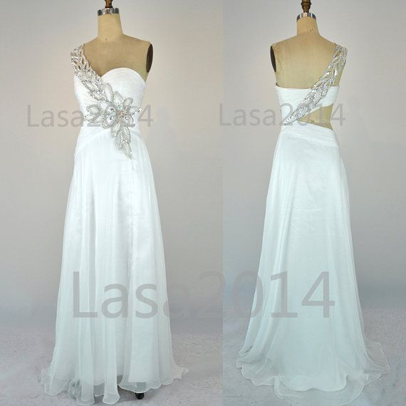 White Prom Dresses 2014 Prom Gown  One Shoulder Long by LASA2014, $169.00 I like the mix of the white and silver