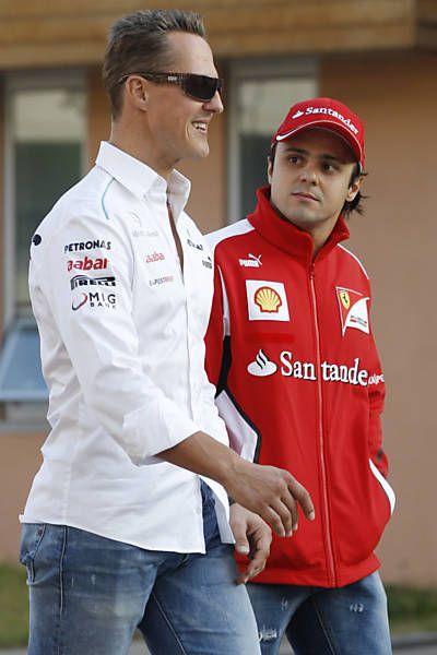 Massa conversa com Michael Schumacher no circuito sul-coreano
