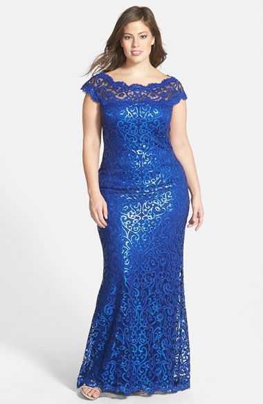 Free shipping and returns on Tadashi Shoji Sequin Lace Gown (Plus Size) at Nordstrom.com. Scrolling lace traced in shimmery metallic sequins brings red-carpet glam to a fitted gown. The illusion yoke puts your face and shoulders in an elegant spotlight.