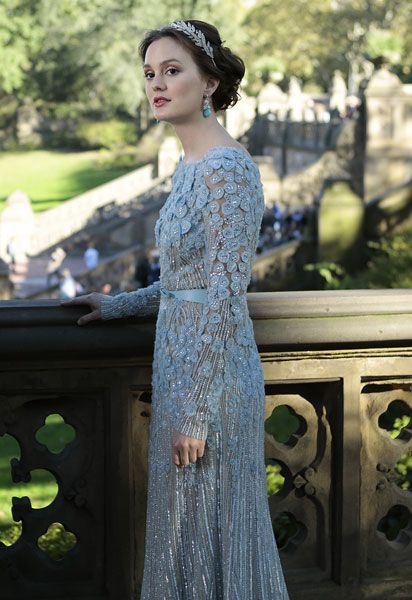 Gossip Girl Wedding Blair Waldorf Marries Chuck Bass In BLUE Elie Saab Dress   Grazia Fashion