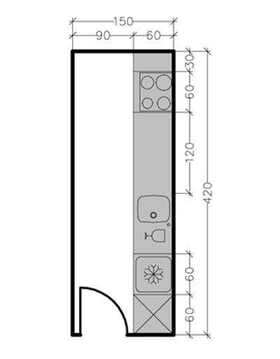 Pour une cuisine d'en longueur d'une surface de 6,3 m² : le linéaire de façade est de 4,20 m soit la possibilité d'installer ici de nombeux éléments : un évier, une plaque de cuisson quatre feux, un réfrigérateur, un lave-vaisselle sans compter qu'il reste de la place pour 3 éléments. En savoir plus surhttp://www.cotemaison.fr/cuisine/plan-cuisine-en-ligne-ou-lineaire-les-meilleures-solutions_16055.html#62ys0Qcu0IF7ZPFh.99