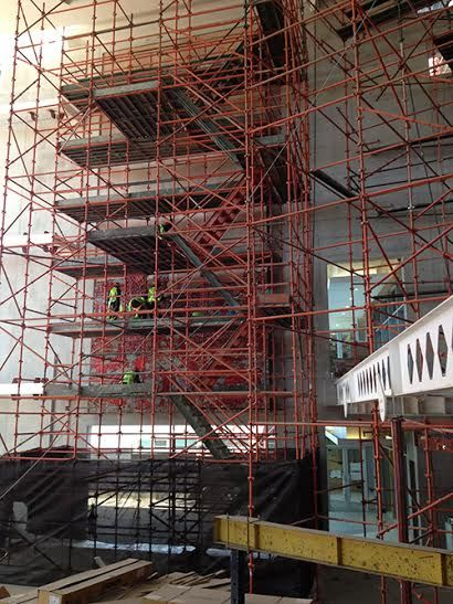 Installation work, on the huge scaffolding.