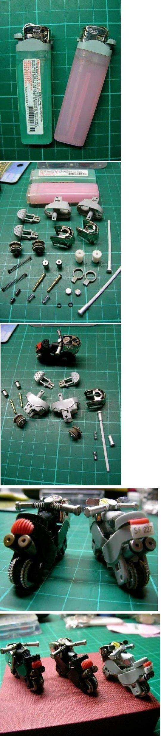 Cool miniature motorcycles made from old lighters.