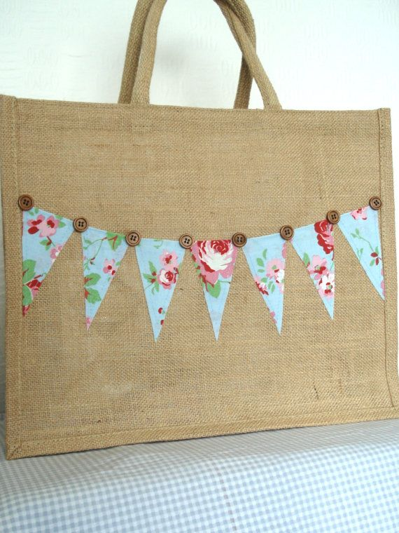 Large Jute Bag with Cath Kidston Rosali by BerryNiceCushions                                                                                                                                                                                 More