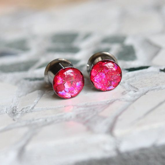 Pink Glitter Plugs Glitter Gauges Sparkly Plugs by FashionPlugs, $22.00