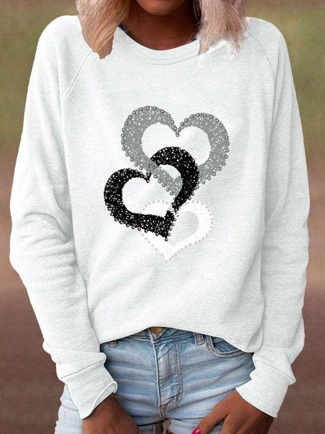 Autumn Winter Heart Print Pullover Loose Womens Hoodie O Neck Casual Sweatshirt