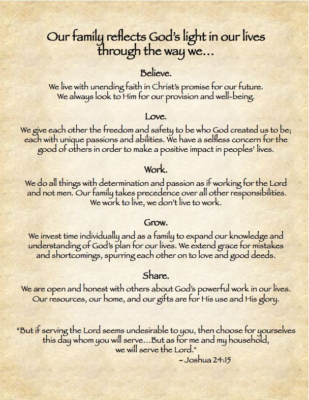 123 Best Family Mission Statement Images On Pinterest Learning