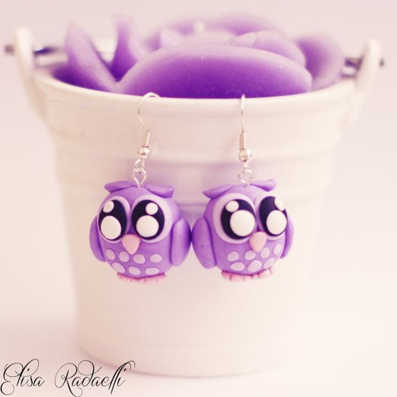 purple owl earrings polymer clay by ElisaRadaelli on Etsy, €8.00