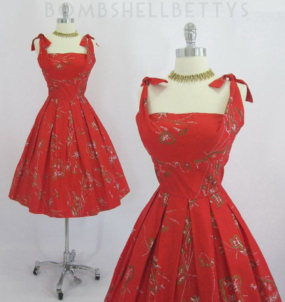 Vintage 50's Surf N Sand By Alfred Shaheen Rare Red Hawaiian Island Map Print Full Skirt Dress