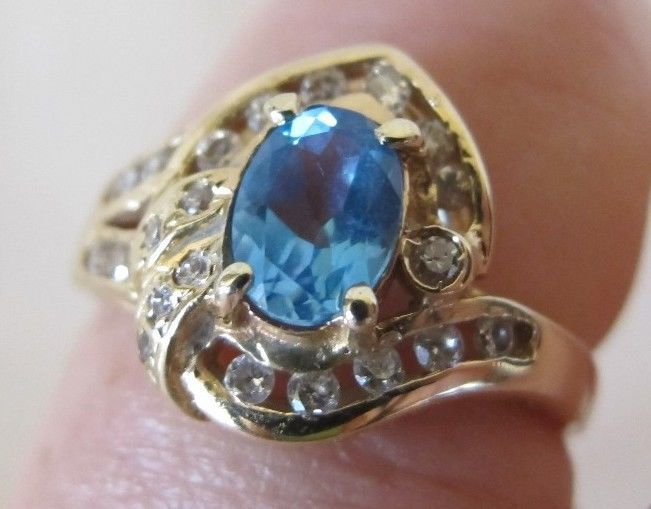 Oval Blue Topaz 14k Yellow Gold Ring w/ 0.5 ct Diamonds Sz 7.5 + Loose Sapphire  #Handmade #SolitairewithAccents