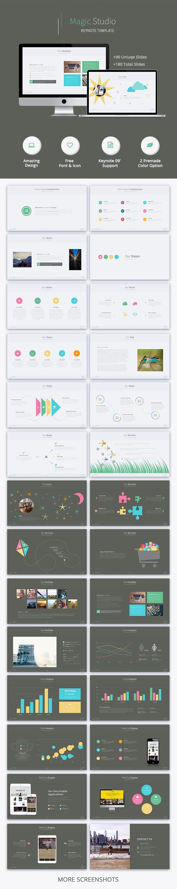 Magic Studio - Creative Keynote Template #design #slides Download: http://graphicriver.net/item/magic-studio-creative-keynote-template/13346513?ref=ksioks