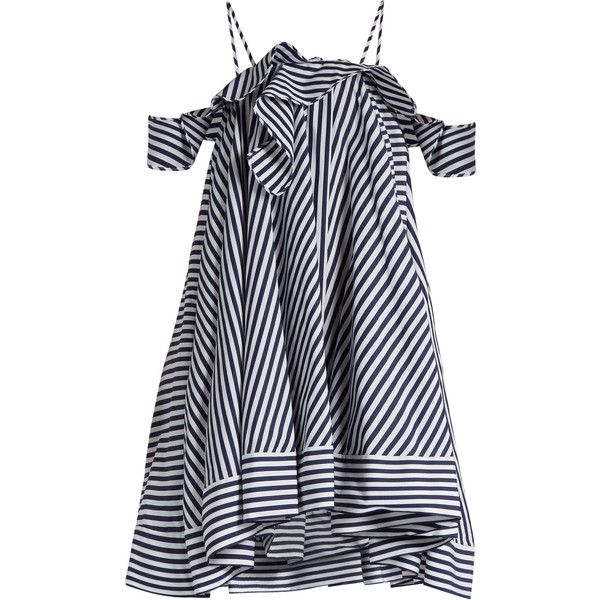 MSGM Open-shoulder striped cotton dress found on Polyvore featuring dresses, blue stripe, blue ruffle dress, a line dress, open shoulder dress, cut-out shoulder dresses and cut out shoulder dress