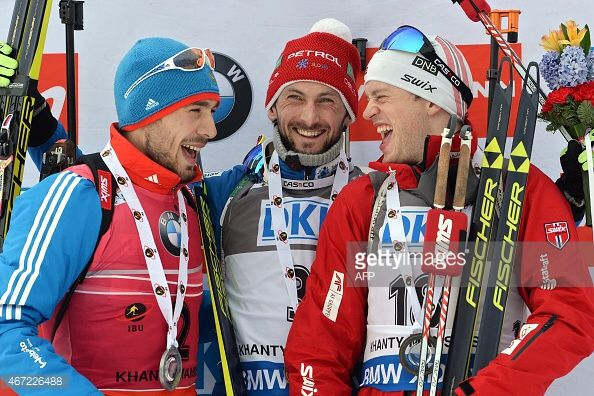 Anton Shipulin, Jakov Fak and Tarjei Boe in Khanty Mansiysk Mass Start March 2015.
