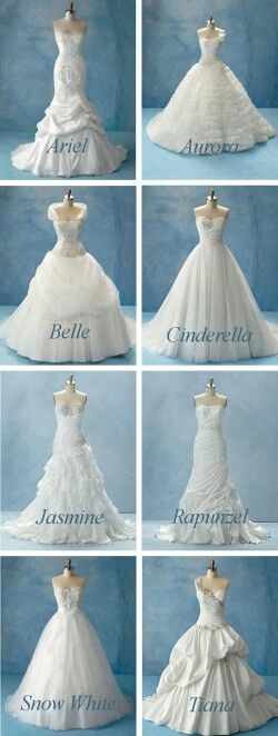 Disney Princess Wedding Dresses, Can't figure out which one I like the best. But I'm leaning towards either Cinderella or Snow White. Which one do you like best???