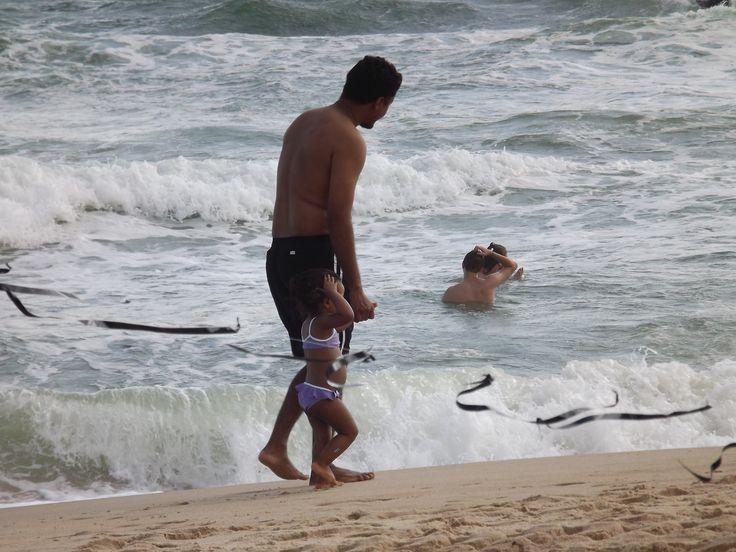 Primeira vez na praia com minha princesa.