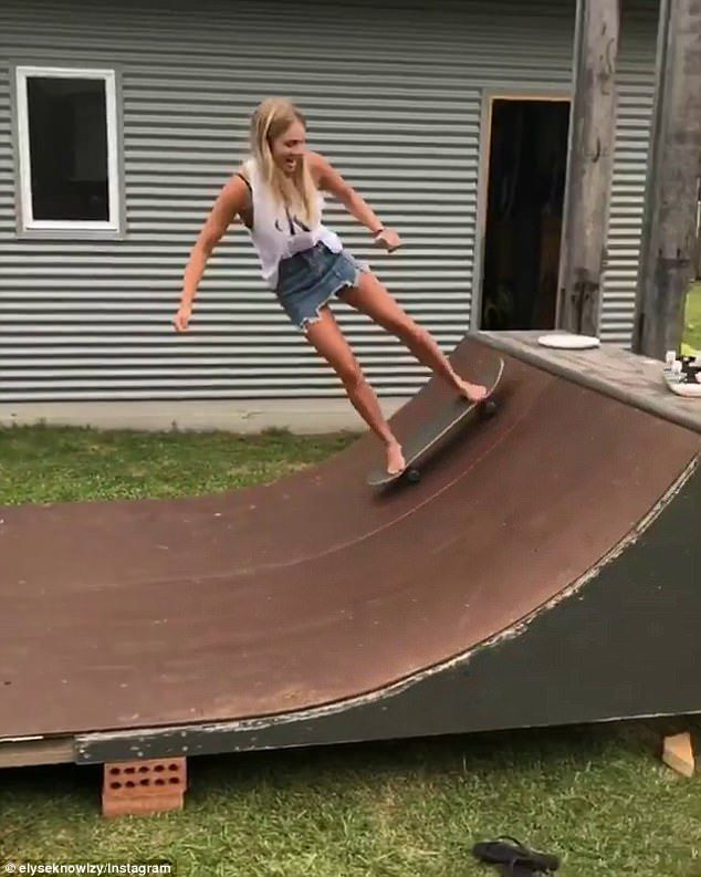 Woman of many talents! On Friday, Elyse Knowles flaunted her skateboarding skills on a DIY...