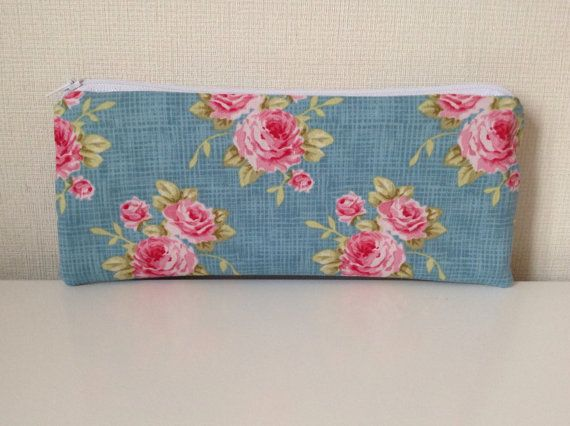 Teal pencil case  Tilda cabbage roses  Purse by HomeChicHomeGifts