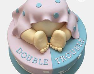 Baby shower twins cake, double trouble, purple, mauve, dåbsdage, baptism