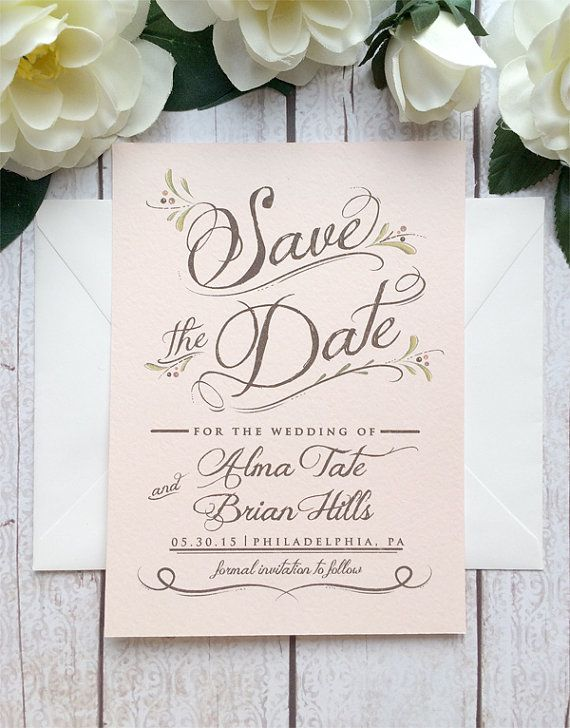 Blush Pink Save The Date Card - Wedding Save The Date - Bohemian Wedding - Botanical, Unique Save the Date - Wedding Invitation