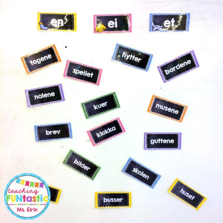 PY 5 - Uke 3: Sorteringsaktivitet for å øve på artikler og omslagsform av substantiv! Magnetkort er tingen ;)