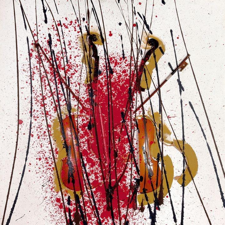 """ARMAN  """"Senza titolo"""" 2003  100x100   violino tagliato con tracce di colore acrilico rosso, nero ed oro su tela   Opera registrata presso gli Archives Denyse Durand-Ruel con il n. 7909  Opera registrata presso l'Arman Studio Archives di New York, con il n. 2545  in data 12/09/2003"""