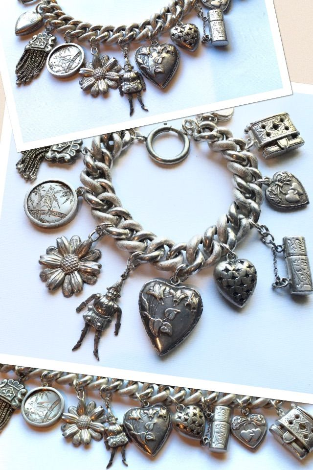 eCharmony Charm Bracelet Collection - Antique Charms: Jester, Hearts, Victorian tassel