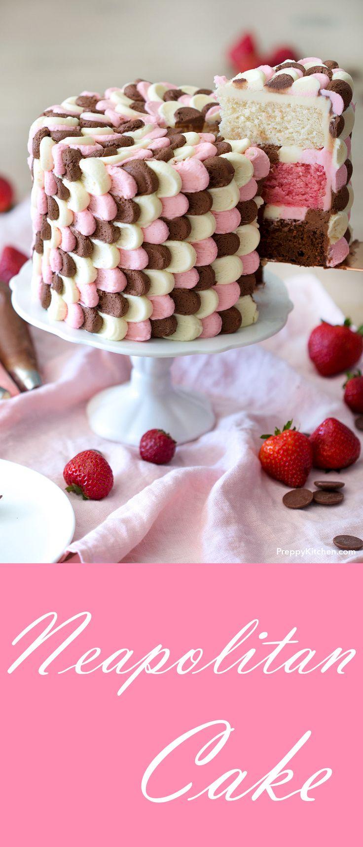 Neopolitan Cake made with 3 different layers of cake. Vanilla, Strawberry and Chocolate Cakes. Decorated with Chocolate Frosting, Strawberry Frosting and Vanilla Frosting.  | #desserts #dessert #cakes #neopolitan #strawberrycake #chocolatecake #vanillacake #birthdaycake